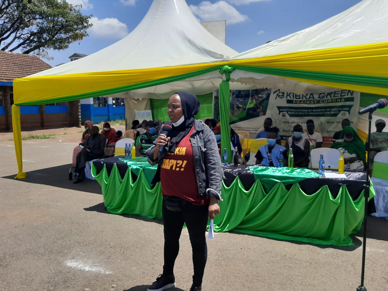 Halima Hanii, speaking at the Kibra Green event in Kibra